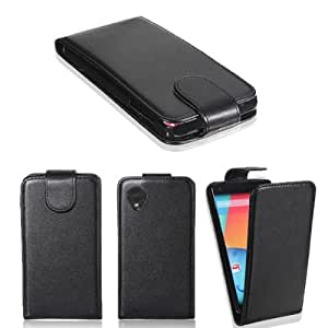 Magnetic Flip Black PU Leather Case Hard Shell For LG Google Nexus 5