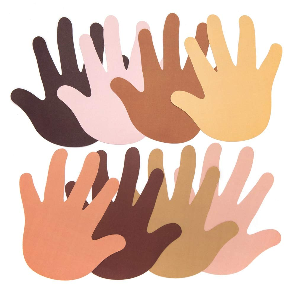 Pack of 56 Assorted Skin Tone Color Paper Head Cut Outs for Kids to Decorate Baker Ross AW759 Multicultural Hand