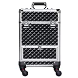 Yaheetech Aluminum Cosmetic Case Rolling Makeup Train Case - 360-Degree Rotating Castors Barber Salon Lockable Travel Case Trolley with Sliding Drawers Removable Divider Black