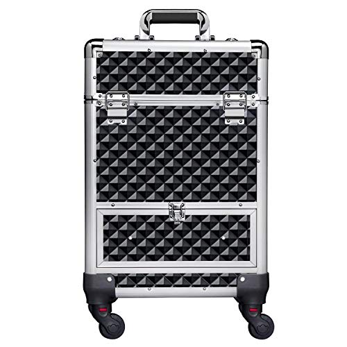 Yaheetech 360-Degree Aluminum Rotating Castors Cosmetic Case Trolley Rolling Makeup Train Case Barber Salon Lockable Travel Case, with Sliding Drawers,Removable Dividers Black