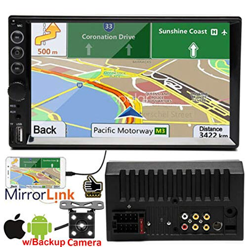 Double 2 Din 7 Inch Touchscreen Stereo Car Audio Video MP5 Player MP3 Player Support FM AM Radio/Bluetooth/TF/USB/AUX, New Mirror Link Design for GPS Navigation Movie + Rear-View Camera