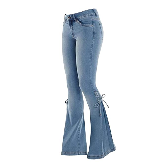 Mujer Vaqueros Pantalones Acampanados Baja Altura Elástico ...