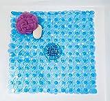 Ambient River Rock Shower Mat Square - Non-Slip Anti-Skid Safe Bath Kid Friendly (Blue)