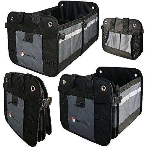 Higher Gear Car Trunk Organizer for Car, SUV, Auto, Truck, Home   Car Storage Organizer Features 2 Interior Compartments, 3 Exterior Pockets, Rigid Folding Bottom, No Slip Feet   Collapsible, Too