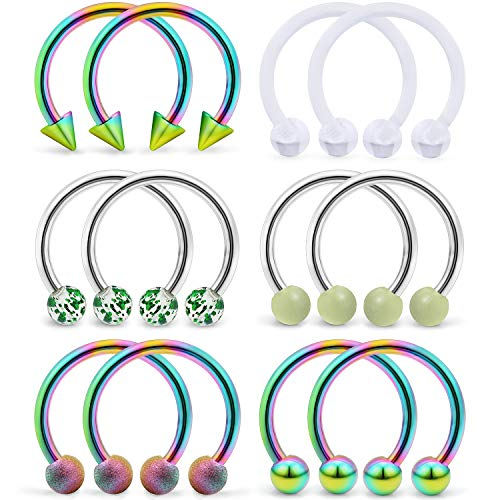 (SCERRING 6 Pairs 16G 10mm Stainless Steel Nose Horseshoe Hoop Rings Eyebrow Lip Ear Tragus Cartilage Daith Septum Retainer Body Piercing Jewelry Retainer Rainbow)