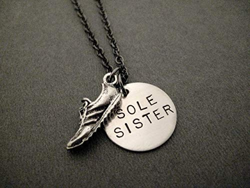 (SOLE SISTER Necklace - Pewter Running Shoe Charm with Hand Stamped Round Nickel Silver Charm on 18 inch Gunmetal Chain - Handmade Runner Jewelry)