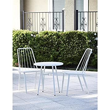 Cottage Bistro conjunto de metal (color blanco, Ideal para el jardín, porche ,