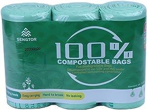 Sengtor Biodegradable Trash Bags, 9.84 Liter, 2.6 Gallon, 90 Count, Food Scrap Small Kitchen Compostable Trash Bags Suitable for Kitchen, bedroom, office, etc.