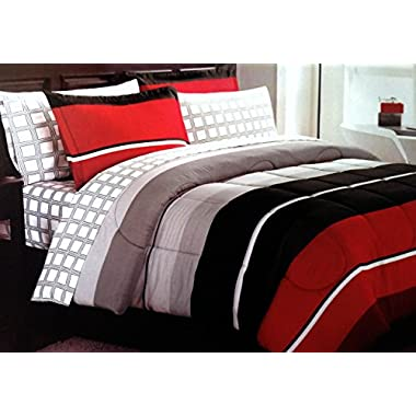 New! Boys Teen Rugby Stripe Red Black Gray QUEEN Comforter + 2 Shams + Sheet Set + Home Style Exclusive Sleep Mask (9 Pc. Bedding Bundle)