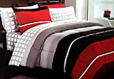 Rugby Red Black Gray Teen Boys Bedding Comforter + 2 Shams + Sheet Set + Home Style Exclusive Sleep Mask (9 Pc. Bed in a Bag Bundle) Stripes For Kids Boy Teens (Full)