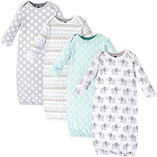 Hudson Baby Baby Cotton Gowns, Gray Elephant 4 Pack, 0-6 Months