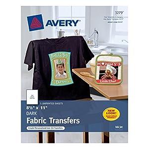Avery InkJet Iron-On Dark T-Shirt Transfers, White, Five Sheets per Pack (03279)