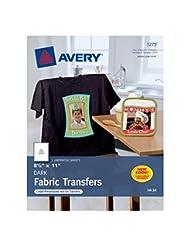 Avery InkJet Iron-On Dark T-Shirt Transfers, White, Five Shee...