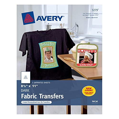 Iron On Fabric Sheets (Avery InkJet Iron-On Dark T-Shirt Transfers, White, Five Sheets per Pack)
