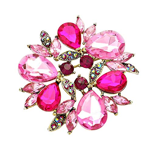 Rosemarie Collections Women's Sparkling Rhinestone Flower Round Wreath Statement Brooch Pin (Double Pink)