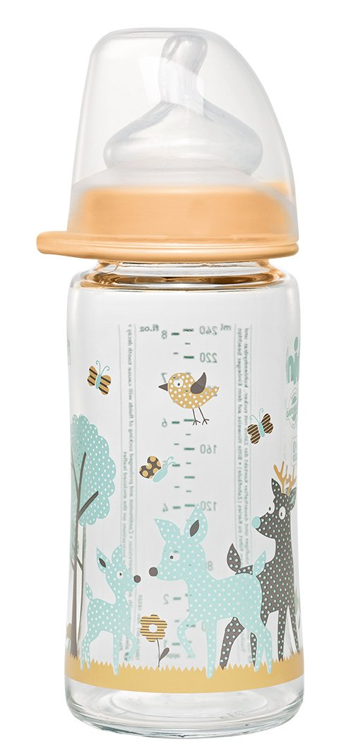 nip Weithalsglasflasche Boy 240 ml mit Weithalstrinksauger anatomisch, Silikon, Gr. 0+, Milch 35063