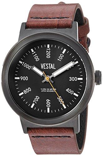 Vestal Men's 'Retrofocus' Quartz Stainless Steel and Leather Casual Watch, Color:Brown (Model: SLR443L03.BRBK)