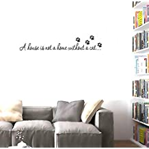 """BIBITIME Cat Footprint Puppy Paw Stickers Quotes Sayings """"A house is not a home without a cat..."""" Vinyl Wall Decals Lettering Inspirational,DIY 22.44"""" x 5.91"""""""