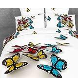 HYAM 4pc 100% Cotton 3d Duvet Cover Set No Inside Comforter or Duvet Colorful Vivid Butterflies Full Size (qchd-16)