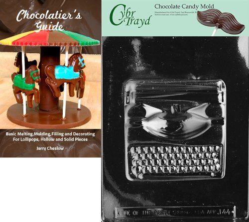 Cybrtrayd Large Typewriter Chocolate Candy Mold with Chocolatier's Guide Instructions Book Manual