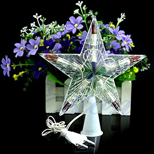 (HeroStore Color Changing Xmas Christmas Tree Topper Star Light Party LED Lamp Decoration)
