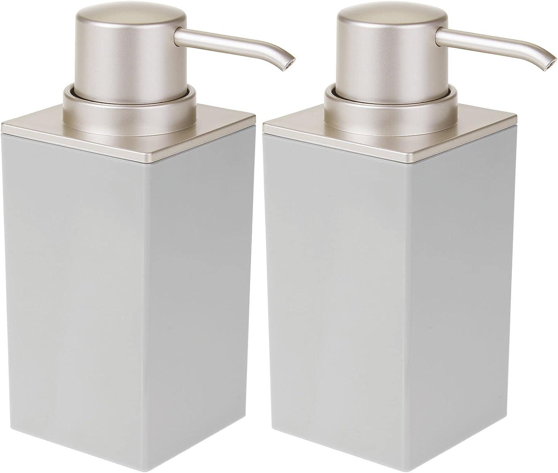 mDesign Modern Square Plastic Refillable Soap Dispenser Pump Bottle for Bathroom Vanity Countertop, Kitchen Sink - Holds Hand Soap, Dish Soap, Hand Sanitizer, Essential Oils - 2 Pack - Gray/Satin