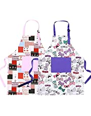 VCOSTORE 2 Pcs Kids Art Smock Waterproof Toddler Paint Apron Long Sleeve with 3 Pockets Painting,Baking,Feeding Smock