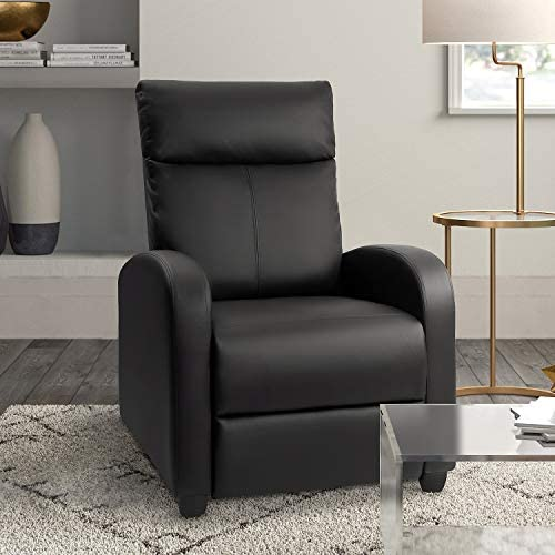 Tuoze Recliner Chair Massage Modern PU Leather Recliners Chair Adjustable Home Theater Seating with Sofa Padded Cushion Black