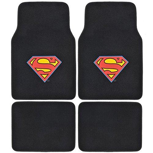 Batman Vs Superman - Set of 4 Universal Fit Plush Carpet Floor Mats for Cars / Trucks (Super Man) (Bats Super Set)