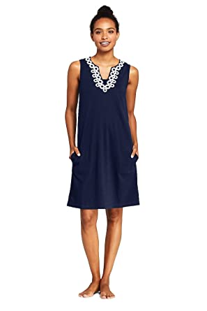 b136c6a3ad5 Lands' End Women's Cotton Jersey Embelished Sleeveless Tunic Dress Swim  Cover-up, XS