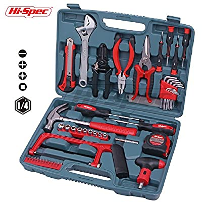 Hi-Spec 53pc Household & Garage Tool Kit with Claw Hammer, Hack Saw, Sockets, Adjustable Spanner, Utility Knife, Screwdrivers, Hex Keys, Wire Strippers, Pliers, & Tin Snips All In Heavy Duty Tool Box