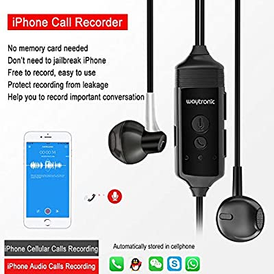 Cell Phone Call Recorder Earphone for iPhone Cellular Calls Skype Facebook  Messenger Whatsapp Voice Call Recording (with Connector)