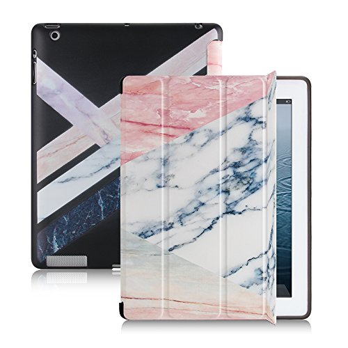 Smart Folio Case for iPad 4/3/2 Marble Pattern, Magnetic Auto Wake/Sleep Ultra Slim Trifold with Stand Flexible Soft TPU Cover Compatible Apple iPad 2nd 3rd 4th Generation case (Rose Gold White) (Ipad 4th Generation Book Case)