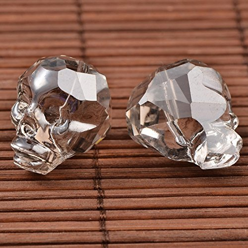 NBEADS 1 pcs/Bag Faceted Skull Pearl Luster Plated LightGrey Electroplate Glass Beads with 20x17x19.5mm,Hole: 2mm