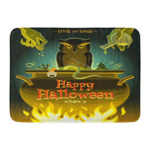 Emvency Bath Mat Owl Cooking Halloween Witch Cooks Poison Potion in Cauldron Brew Spell Bathroom Decor Rug 16