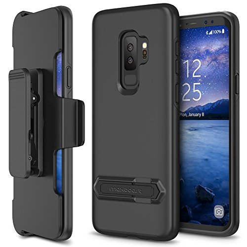 Maxboost Galaxy S9 Plus Holster Case DuraSlim Series with Reinforced Kickstand and Rotating Belt Clip [Heavy Duty] [Black] Dual Layer Shock-Absorbing Protection Case for Samsung Galaxy s9 Plus (2018)