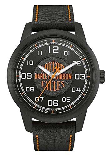 Harley-Davidson Men's Bar & Shield Script Watch, Stainless Steel, Black 78A116