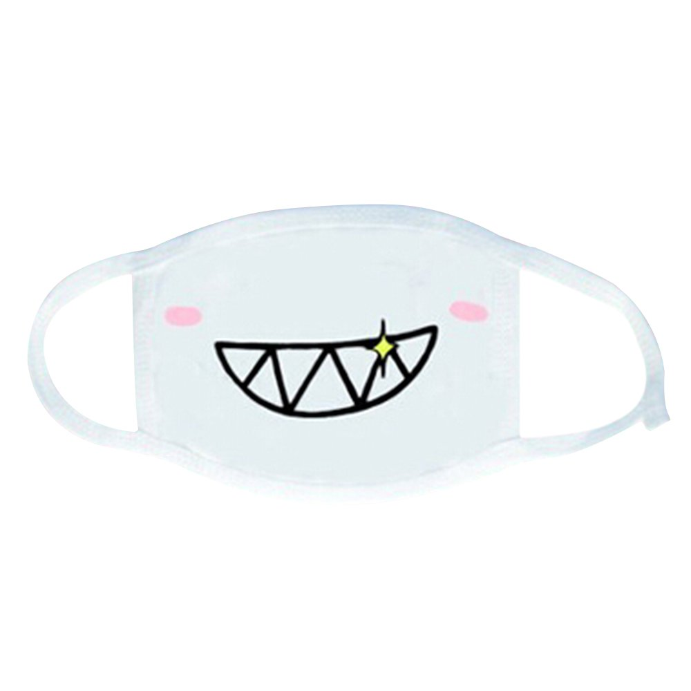 Baost White Emoticon Mouth-Muffle Kaomoji Anti-Dust Cute Kawaii Face Mask - 2