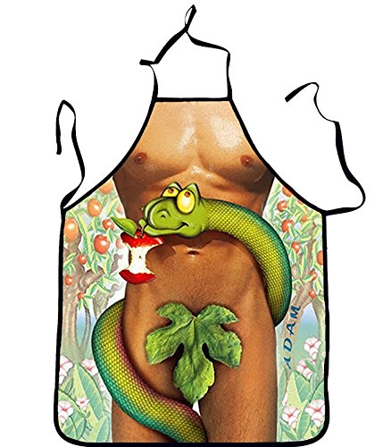 Lqchl 3D Funny Sexy Naked Man Women Aprons Adam Eve Kitchen Apron Dinner Party Cooking Apron Adult Cuisine,A ()