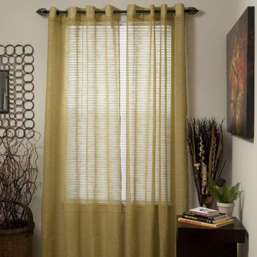 Bedford Home Mia Jacquard Grommet Single Curtain Panel, 95-Inch, Light (Bedford Five Light)