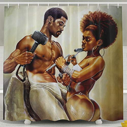 - SARA NELL Shower Curtain African Couple Lover Sculpture Art Oil Painting Bath Curtains 66