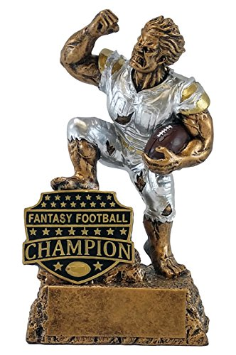 Fantasy Football League Champion Monster Trophy - Engraved Plates by Request - Perfect FFL Award - Hand Painted Design - Resin Casting - for Recognition - Decade Awards Exclusive