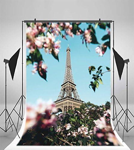 LFEEY 3x5ft Beautiful Closeup Paris Eiffel Tower Photography Backdrop Happy Kids Adults Birthday Party Decoration Wallpaper Wedding Birdal Shower Anniversary Photo Background Photo Studio Props