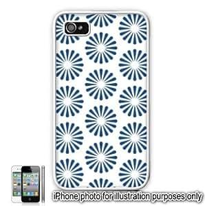 Blue Radiating Sun Bursts Pattern Apple iPhone 4 4S Case Cover Skin White