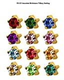 Assorted birthstars Studex ear piercing studs 12 colors months