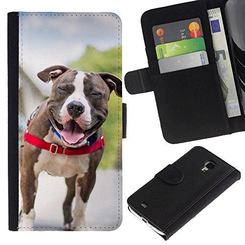 Billetera de Cuero Caso Titular de la tarjeta Carcasa Funda para Samsung Galaxy S4 Mini i9190 MINI VERSION! / Boston Terrier French Bulldog Dog Pet / STRONG
