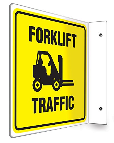 """Accuform PSP249 Projection Sign 90D, Legend""""Forklift Traffic"""", 8"""" x 8"""" Panel, 0.10"""" Thick High-Impact Plastic, Pre-Drilled Mounting Holes, Black on Yellow"""