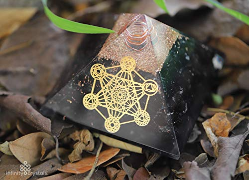 Black tourmaline orgone Pyramid with Reiki healing crystals and stones for positive energy, emf protection, Chakra balancing – Orgonite device with Quartz Crystal Point, Metatron Gold for Prosperity
