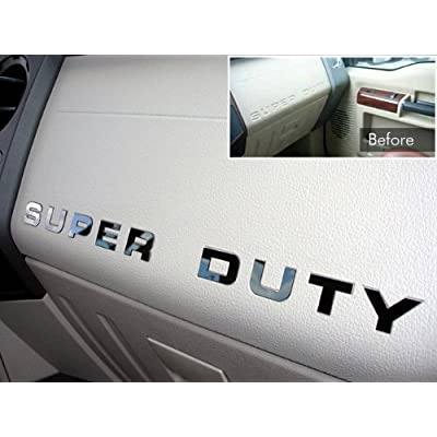 BDTrims Dashboard Raised Letters Compatible with 2008-2016 Super Duty Models (Chrome): Automotive