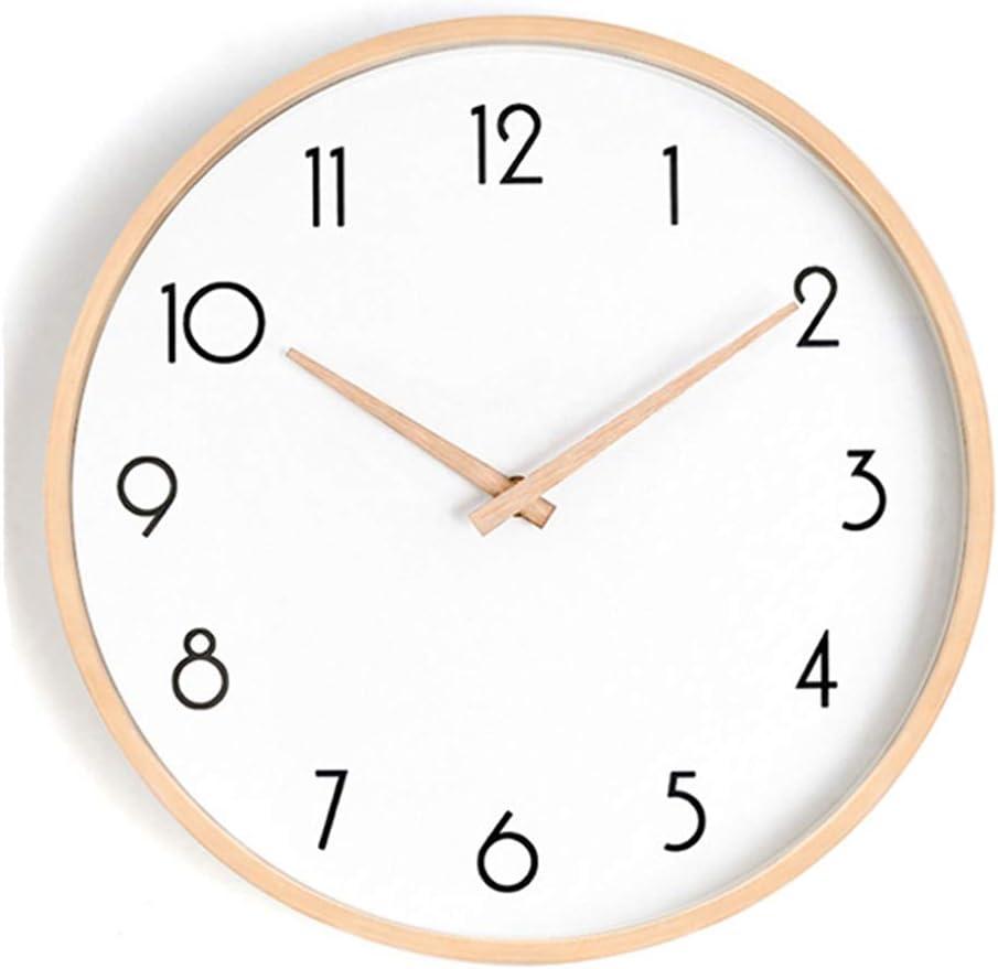 HEA GH Horloge Murale silencieuse Horloge Murale Non-Ticking pour la Maison Salon Horloge Scolaire Chambre avec Bois Massif 10 Pouces